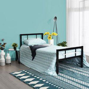 STRUCTURE DE LIT HJ Lit simple Cadre de lits en métal Pour enfants,