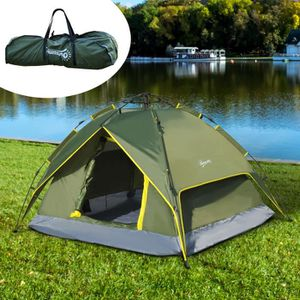 Hewolf Tente Automatique D/ôme de Camping pour 3-4 Personnes Version Mise /à Jour de la Tente hydraulique Tente Double Toit /à Pop up Tente UV avec Sac de Transport 230 x 210 x 130cm