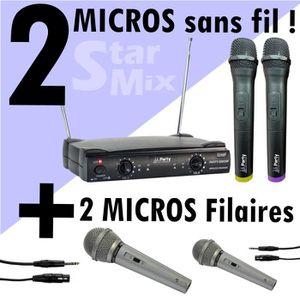 MICROPHONE - ACCESSOIRE 4 MICROS pack comprenant 2 micros sans fil + 2 mic