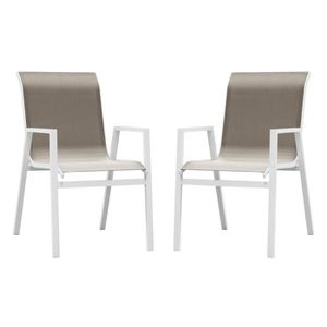 FAUTEUIL JARDIN  Chaise de jardin en aluminium Ibiza - Lot de 2