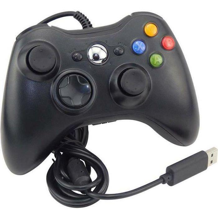 Manette de jeu filaire USB 2.0 pour PC XBOX 360 PC Windows - Noir
