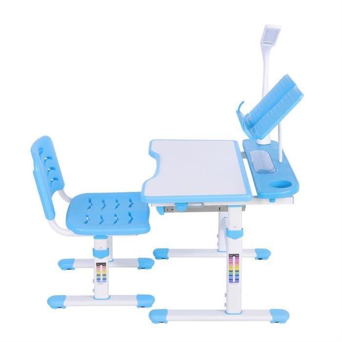Ensemble table et chaise bebe bureau hauteur réglable et chaise confortable avec table d'étude de lampe pour enfants 100 ~ 240V-LAV