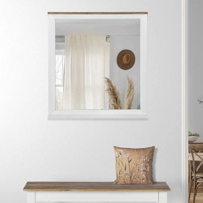 WOMO-DESIGN Miroir Mural XI'an 80 x 76 cm - Rectangulaire - Naturel-Blanc - Ca e en Bois de Manguier Massif Laqu&eacute - Styl[336]