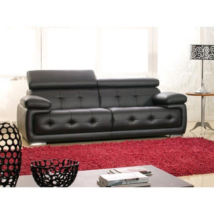 Canapé 3 places en cuir noir SANMARCO