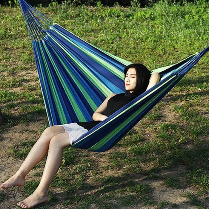 Barre d\'écartement Hamac Double Camping en plein air Swing lit suspendu bleu