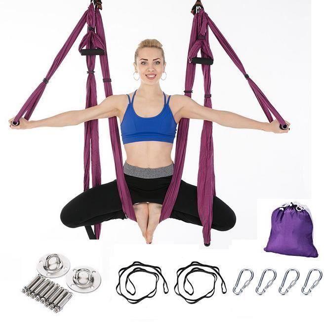 Aérienne aérienne Yoga Swing Sling Forte Hamac Yoga Kit Set Violet