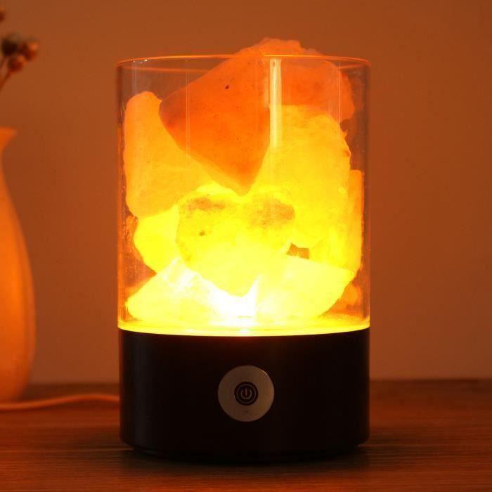 Lampe de sel Himalaya Cristal USB Purificateur d'air Veilleuse Lumière Nuit Noir Bo43650