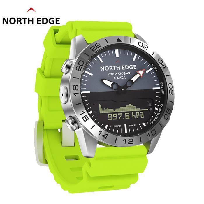 F North Edge GAVIA 2 montres pour hommes d'affaires de luxe en acier complet étanche 200 m altimètre boussole plongée sport numériqu