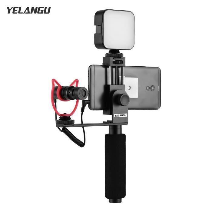 YELANGU Smartphone Vlogging Main Grip Téléphone Mobile Support D'enregistrement Vidéo Poignée Stabilisateur Pince Pour Téléph