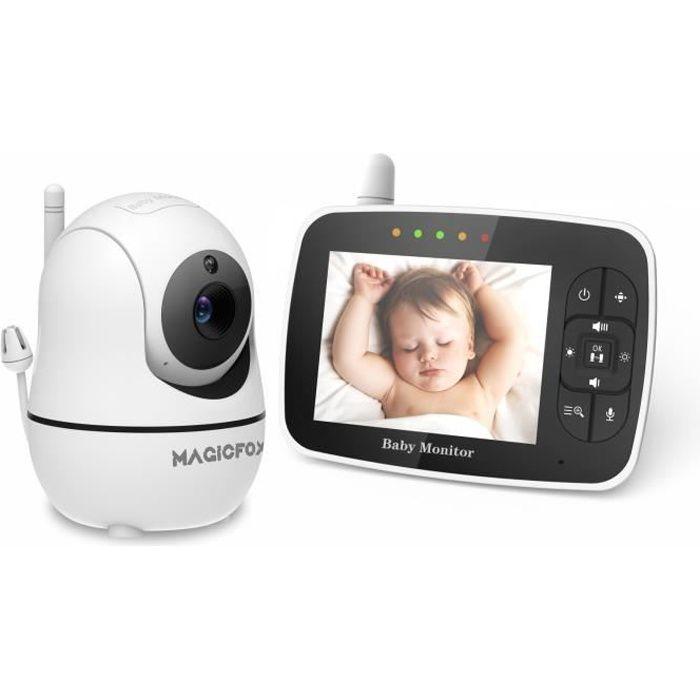 Babyphone MAGICFOX 3.5- LCD Moniteur Bébé Rotation 360°, Caméra zoom 1080p, Surveillance de Température Berceuse Vision Nocturne