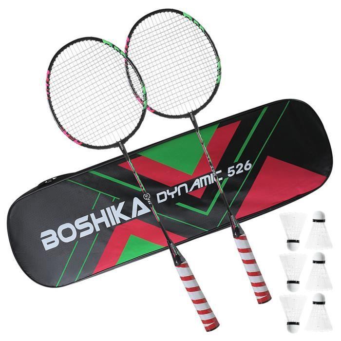 Ensemble de raquettes de badminton d'entraînement en alliage de fer pour adultes avec 6 volants 2 poignées 1 sac de transport_d.