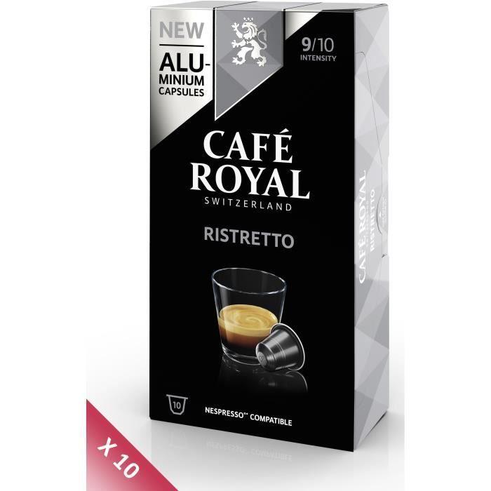 Lot de 10 CAFE ROYAL compatible Nespresso Alu Ristretto x10