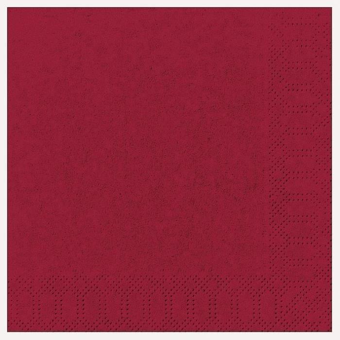 DUNI - 20 Serviettes ouate 33x33cm 3 plis Bordeaux