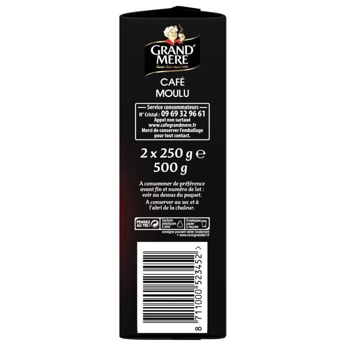 GRAND'MERE Lot de 2 sachets Café moulu dégustation - Riche en arabica - 250g