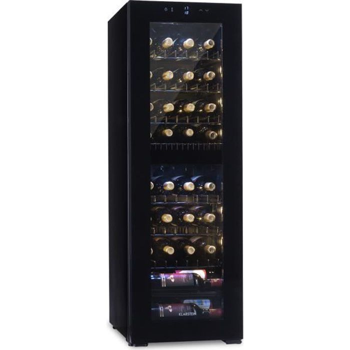 Klarstein Cave à vin multitempératures 105 litres - 39 bouteilles - 2 zones de refroidissement - Porte vitrée - Ecran LCD - Classe B