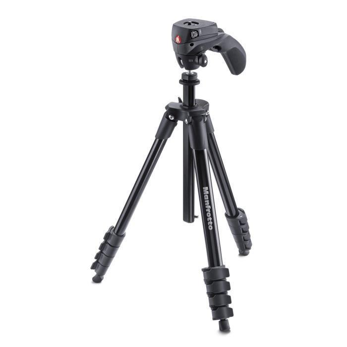 Manfrotto MKCOMPACTACN-BK, Caméras numériques, 1,5 kg, 3 pieds, 155 cm, Noir, 2,2 cm