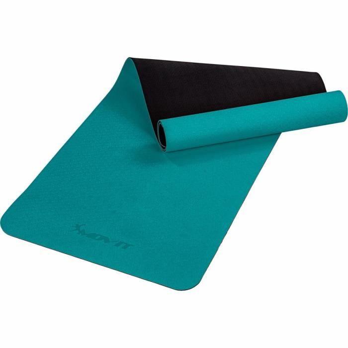 MOVIT Tapis de gymnastique TPE, tapis de pilates, tapis d'exercice premium, tapis de yoga, 190 x 60 x 0,6 cm, vert foncé