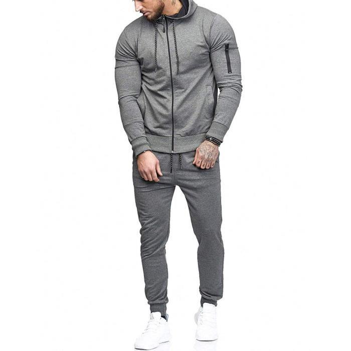 huadedu Sweat Zipper Patchwork Automne Hommes Top Pantalons Ensembles sport Survêtement Suit Gris
