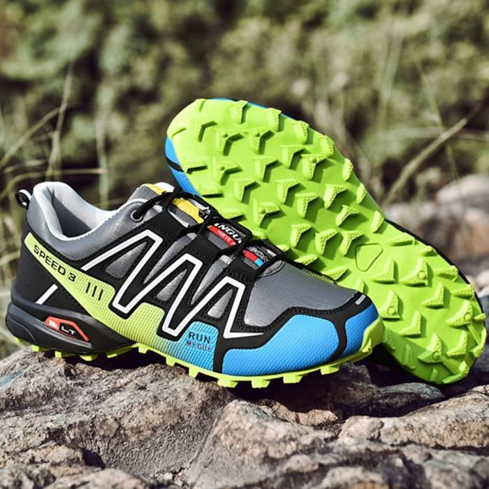 Chaussures de course antidérapantes pour hommes Baskets Chaussures de randonnée Chaussures de sport de plein air athlétiques Gris