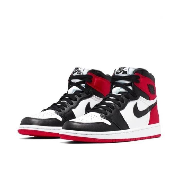 Air Jordan 1 Retro High OG Chaussures de Sport Basket AJ 1 -Satin Black Toe- Pas Cher pour Homme Femme