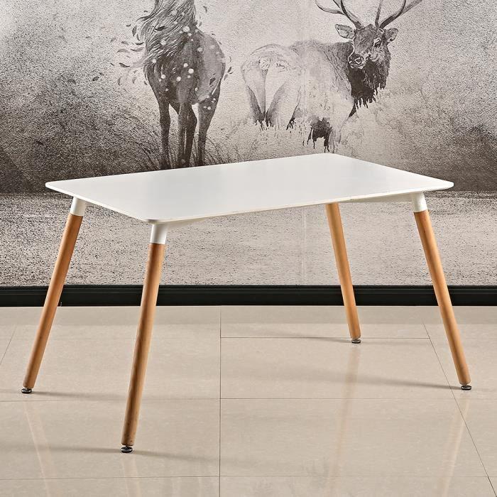 Table Salle à Manger Scandinave OOBEST Design Bois pour 4 a 6 Personnes Blanche 120x60x75cm Pieds