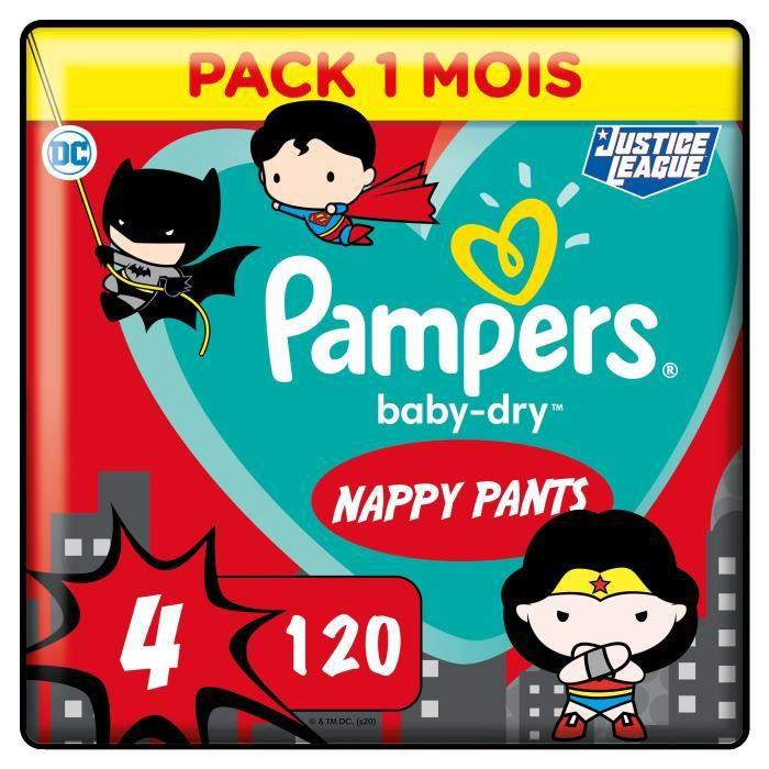PAMPERS Couches-culottes Baby-Dry Pants Taille 4 - 120 culottes - Pack 1 Mois