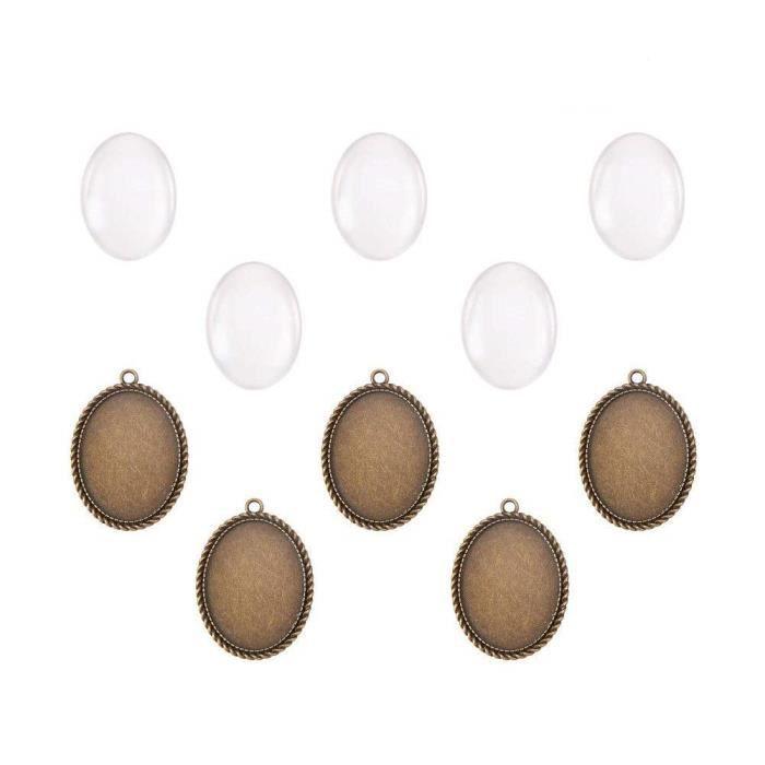 PandaHall - Lot De 5 Kits Supports Cabochon Pendentif Ovale en Metal Couleur Bronze Antique + Cabochons Ovales Verre pour DIY Bijoux