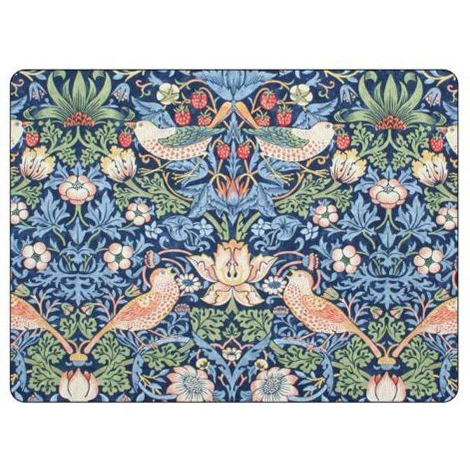 Pimpernel: Set de table Pimpernel Morris & Co Strawberry Thief, bleu, ensemble de 6