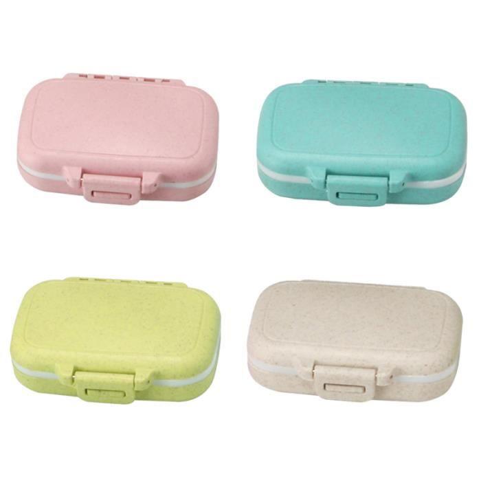 4pcs petite boîte à pilules à médicaments portable étui à simple de rangement de pratiques pour bureau à domicile (bleu PILULIER