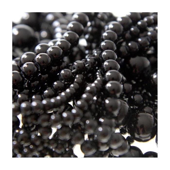 Perles nacrées 6 mm en verre de bohême couleurs vives lot de 50 Noir