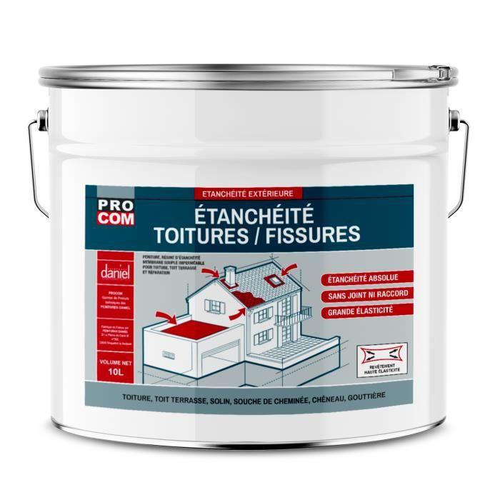 Peinture d'étanchéité pour toiture, réparation tuiles, fissures, anti-fuites, anti-mousse, décore et protège 10 litresBlanc Blanc