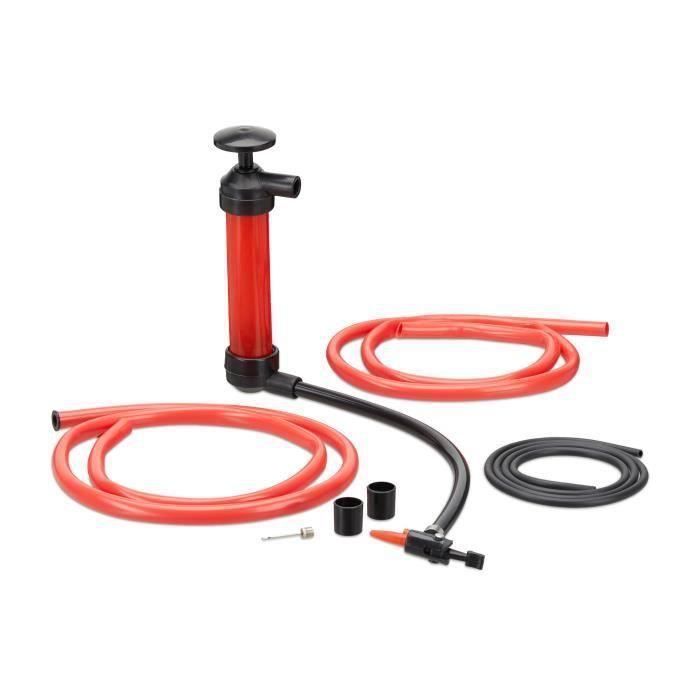 Relaxdays Pompe à Siphon de Transvasement ou à Gonfler huile essence diesel matelas vélo, rouge