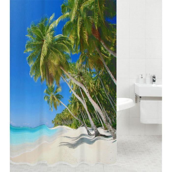 Rideau de douche Caraïbes 180 x 180 cm - de haute qualité - 12 anneaux inclus - imperméable - effet anti-moisissures