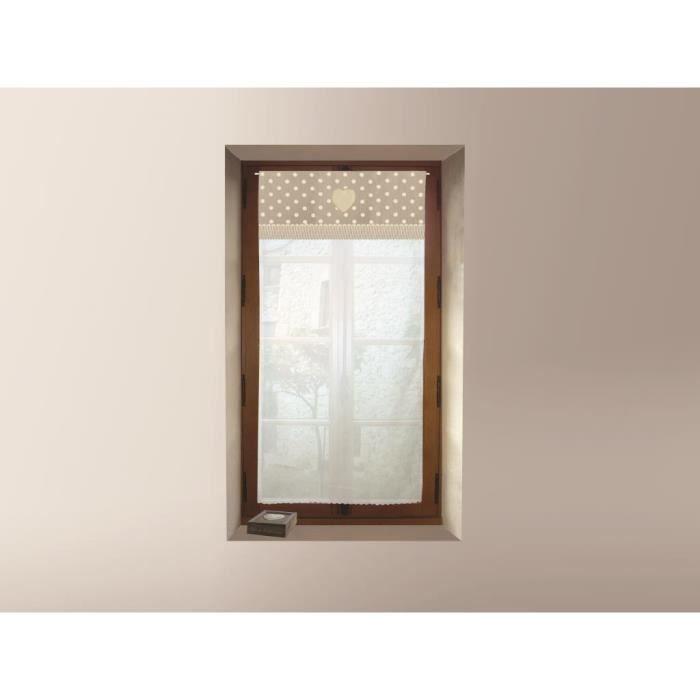 Brise bise brodé en coton 60x120 cm PASSION naturel, par Soleil d'ocre. Brise-bise style maison de famille, campagne, classique
