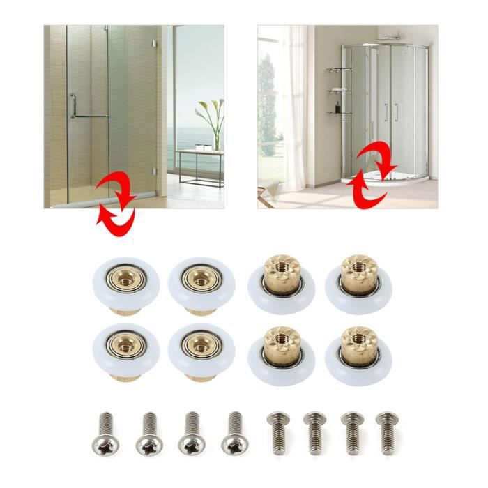 Lot de 8 accessoires pour porte de douche : roues 25/mm de diam/ètre poulies guides Pour salle de bain A monter soi-m/ême