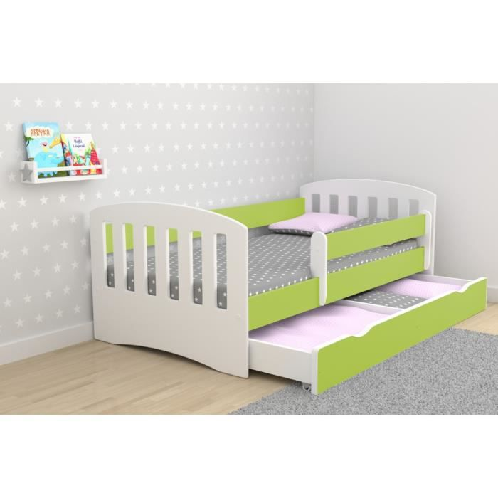 lit enfant 80x180 cm avec barriere de securite sommier matelas offert vert citron achat. Black Bedroom Furniture Sets. Home Design Ideas