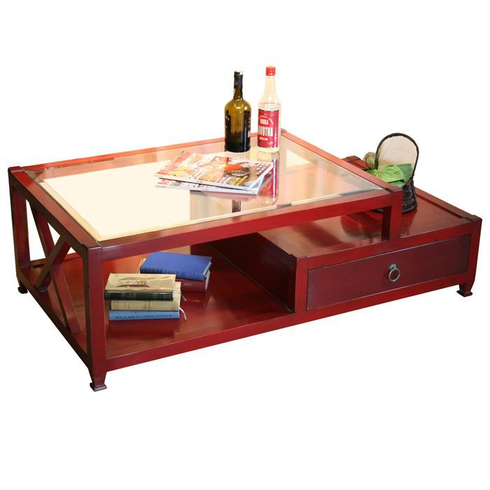 Table basse fr line rouge en merisier massif achat vente table basse tabl - Table basse grand format ...