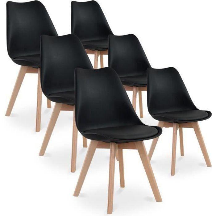 Lot De 6 Chaises Catherina Coloris Noir Style Scandinave Pieds Bois