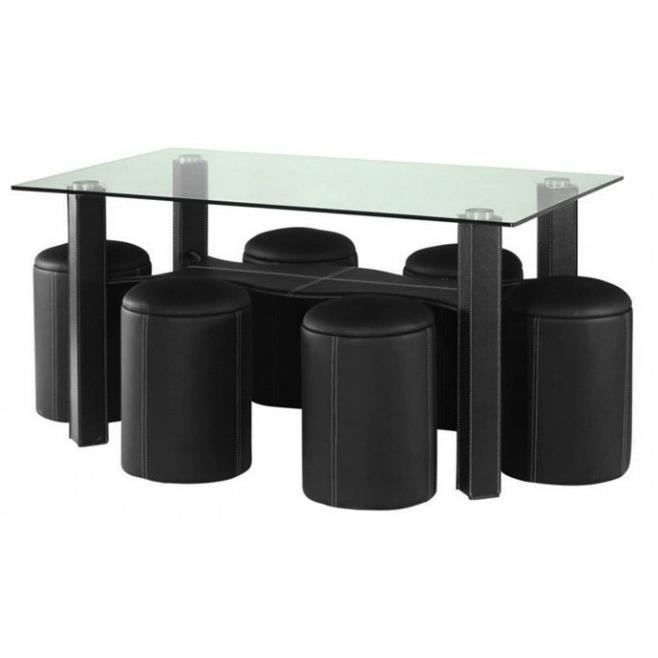 table a manger dallas noire avec 6 poufs achat vente. Black Bedroom Furniture Sets. Home Design Ideas