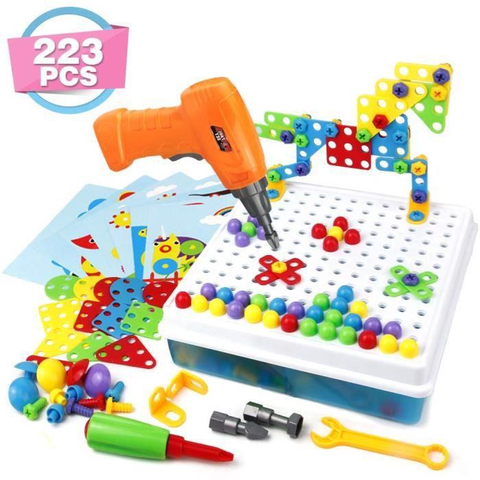 GizmoVine Jeu Stem Jouet /à Visser Construction avec Perceuse /ÉLectronique Cr/éatif 3D Puzzle Mosaique Jeux /Éducatifs et Scientifiques 3 4 5 Ans