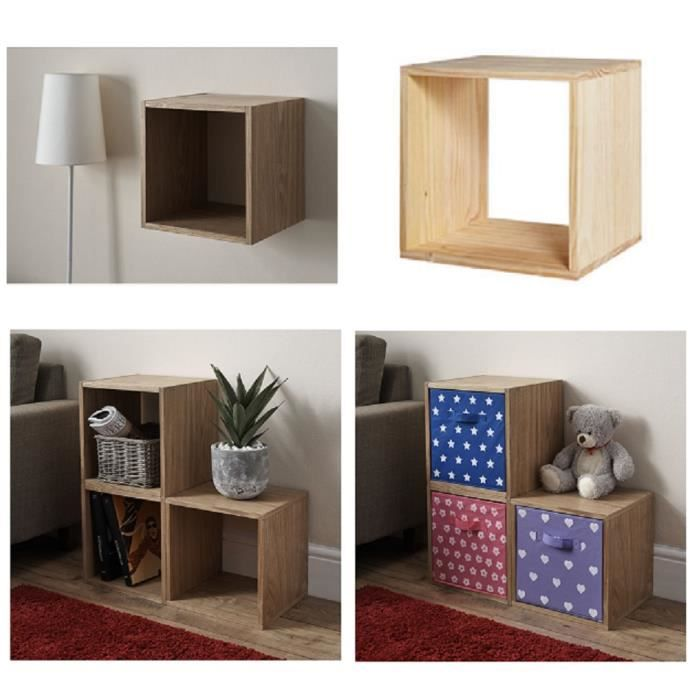 cube de rangement modulable en bois clair 33 5 x 30 x 33 5 cm achat vente petit meuble. Black Bedroom Furniture Sets. Home Design Ideas