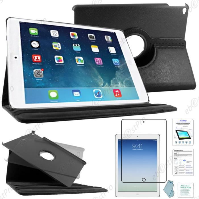 etui rotatif apple ipad air 2 noir film verre prix pas cher soldes d s le 10 janvier. Black Bedroom Furniture Sets. Home Design Ideas