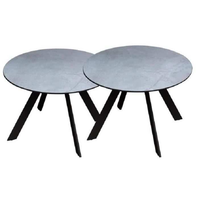 Table Basse De Jardin En Metal Lot De 2 Tables D Appoint Gris