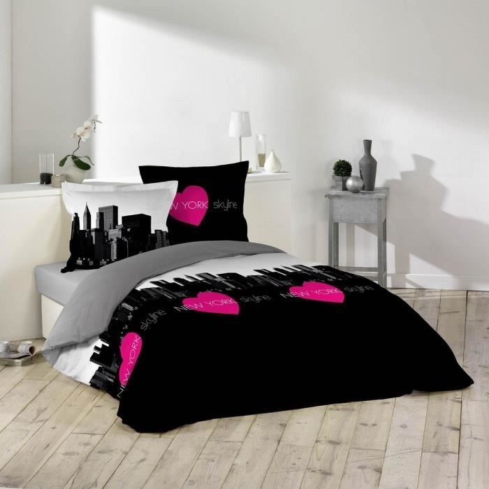 housse de couette et deux taies 260 cm skyline pink moncornerdeco. Black Bedroom Furniture Sets. Home Design Ideas