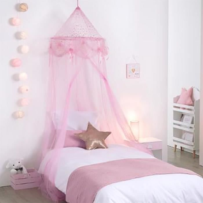 ciel de lit fille princesse rose avec toiles achat. Black Bedroom Furniture Sets. Home Design Ideas