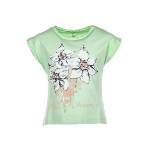 tee shirt vert pale tiffosi enfant fille ado imprim fleurs de lys 2 4 6 8 10 12 14ans vert. Black Bedroom Furniture Sets. Home Design Ideas