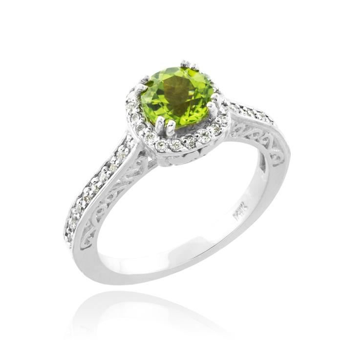 Bague Femme Alliance 10 ct Or Blanc 471/1000 Peridot Halo Diamant Pave