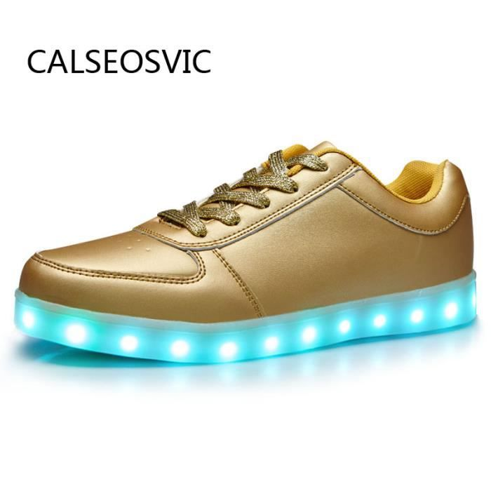 Calseosvic-Chaussures Dore LED USB rechargeables 8 multicolors lumières