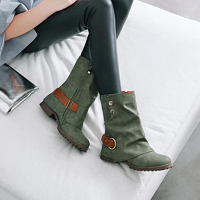 Mode chaud Bottes en cuir femmes courtes Boucle artificielles Chaussures Patchwork en cuir Pageare2633
