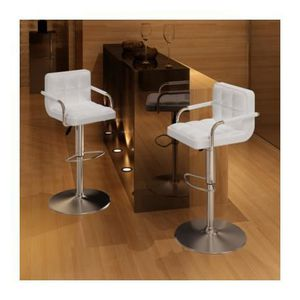 TABOURET DE BAR Lot de 2 Tabourets de bar blancs avec accoudoirs